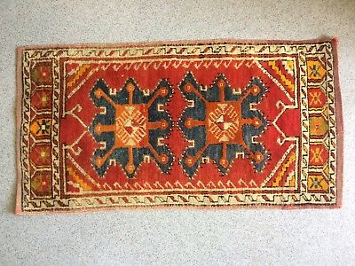 Antique Yastic Anatolian Turkish Wool Woven Rug