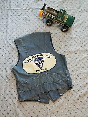 Lee Jean Vest Vintage 90s M Texas Model A Club Patches