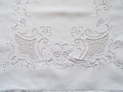 Pair beautiful vintage white work pillow cases with lace inserts and trim