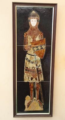 """Maw's Majolica Tube Lined Tiles Wall Mural """"knight In Armour"""""""