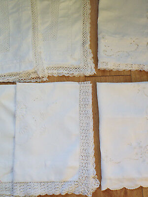 7 mismatched vintage pillow cases, detailed white work and lace, some damaged