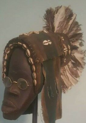 Antique Dan Tribe Feather Mask Figure carved Sculpture  African 2.5ft Halloween
