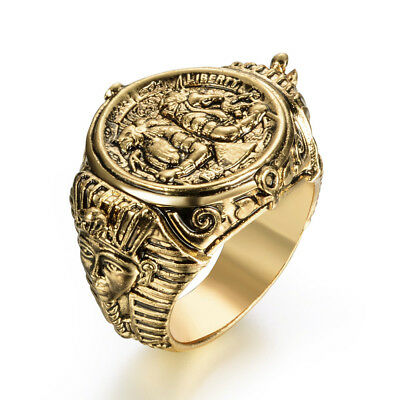 eejart Ancient Egyptian God Ring Horus Anubis Rangers Coin Rings