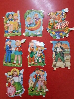 Original vintage paper die cast scraps , boys, girls, 1960's