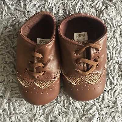 Mamas And Papas Baby Boy Smart Brown Faux Leather Shoes 12-18 Months