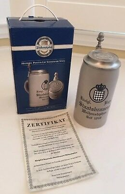 New Weihenstephan Pewter Lid Stoneware Beer Stein - Limited Edition Replica 1914