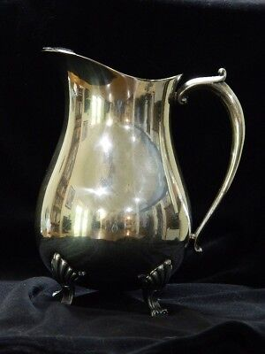 "Vintage Leonard Silver Plate Footed Water Pitcher With Ice Lip 9"" Tall"