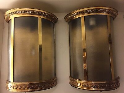 Pair Of Large Antique Bronze Monumental Outdoor Wall Sconces