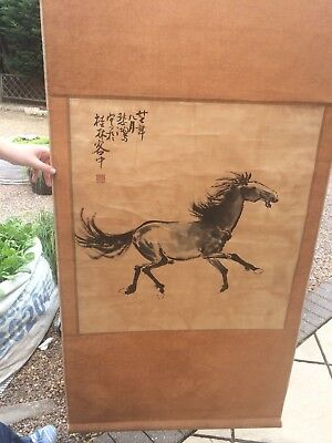 Chinese Painting Of A Horse On A Scroll
