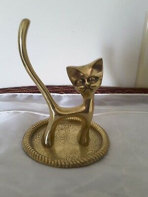 Vintage solid brass cat ring stand tray 4 inches high