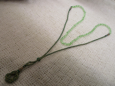 Green Crystal Glass Woven Thread Prayer Bead Necklace Vtg Antique Estate Jewelry