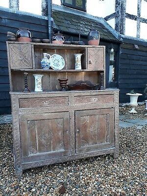 very early oak dresser court cupboard original carving rare
