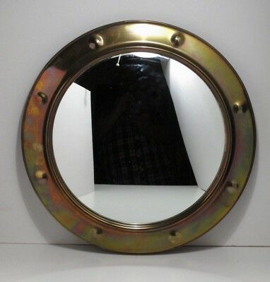 Antique Arts & Crafts Circular Brass Wall Hanging Convex Mirror - 10""
