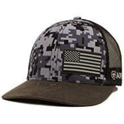 27ddf540d341c ARIAT MENS HAT Baseball Cap USA Flag Logo Snapback Camo   Brown ...