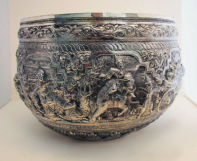 Magnificent Antique THABEIK BURMESE BOWL Silver White Metal, Kalewa Upper Burma
