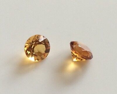 5Pc Round Cut Shape Natural Citrine 6Mm Faceted Loose Gemstones