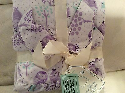 Pottery Barn Kids Sz 10 Owl  Flannel Nightgown NWT Lavender