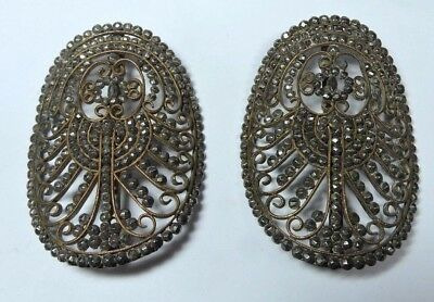 Antique Early Victorian Large Oval Pair of Cut Steel Riveted Shoe Buckles #P310