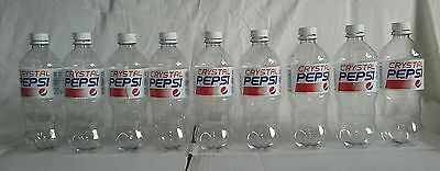 Crystal Pepsi 20 zo. Lot of 9 empty plastic bottle limited edition from 2017