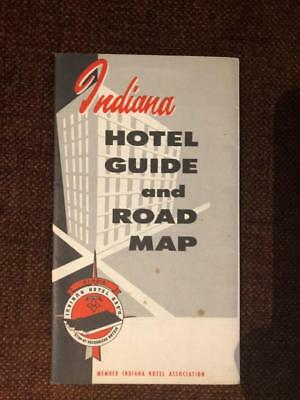 Vintage 1950s (?) Indiana Hotel Guide and Road Map Petroliana