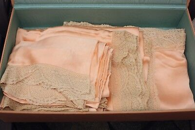 TWO Antique 1900's Hand Stitched Pink Silk Alencon Lace Bedspreads Pillow Shams