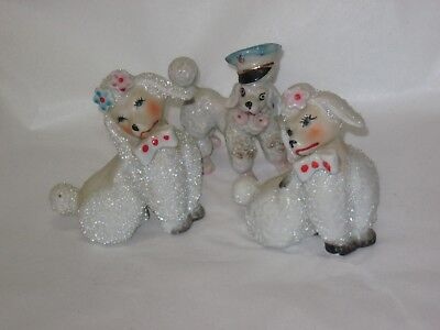 3 VINTAGE POODLE DOG Porcelain Figurine Made in Japan Adorable