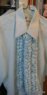 After 6 Ruffle Shirt Formal 70s Tuxedo blue color beautiful SIZE M4 15 1/2 neck