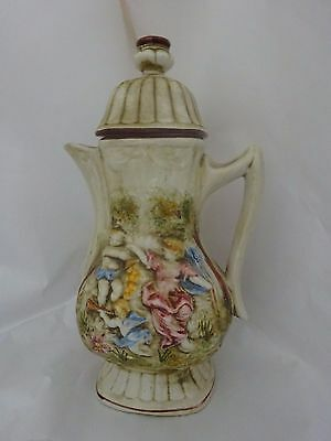 Vintage Large Compodimonte Cherubs&Trees Scenes Lidded Pitcher Jug Made In Italy