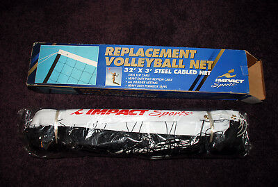 "Replacement Volleyball Net - NIB - 32"" by 3' heavy duty steel cabled net"