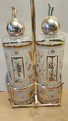 Mid Century Barware Gold Leaf Frosted Glass Liquor Decanters SCOTCH & RYE Caddy