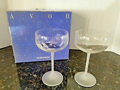 New IN BOX  AVON HUMMINGBIRD SAUCER CHAMPAGNE GLASSES CRYSTAL BOXED SET OF 2