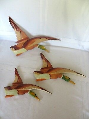 FLYING Geese/ Ducks Wall Hangings HAND CARVED WOOD Signed QUEBEC CANADA J.J.G.