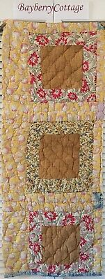 Antique Vintage Quilt Cutter Piece Feed Sack Cotton Early Prints Hand Quilted #3