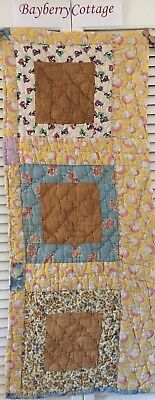 Antique Vintage Quilt Cutter Piece Feed Sack Cotton Early Prints Hand Quilted #1