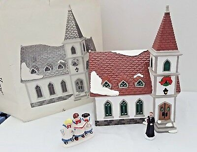 Dept  56 Snow Village Shady Oak Church w/ Sunday Serenade Figurine and Preacher