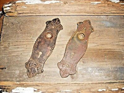 VTG Antique Old AGED Rustic FANCY ORNATE Shabby FLEUR de LIS Metal Backplate Set