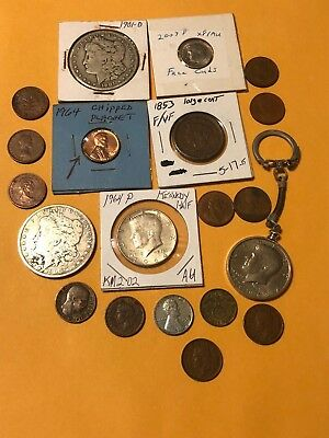 Lot of US & World Coins INC-90% Silver Dollars, Half,WWII Era, Large Cent & More