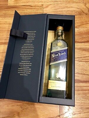 JOHNNIE WALKER BLUE LABEL Scotch Whisky GIFT BOX w/ Empty BOTTLE 350ml