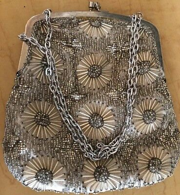 Vintage Hand Made Walborg Silver Flower Beaded Evening Fun Party Purse Hand Bag