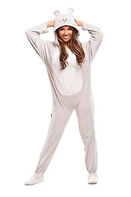 Unisex Gray Mouse Footed Pajamas - Adult Sized Halloween Costume Grey Footie
