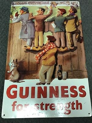 Guinness For Strengty Used Metal Beer Sign Irish Stout 11x17.5 Pub Bar