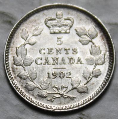 Canada 1902 No H Sterling Silver 5 Cents, Nice Grade, Lustrous