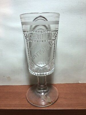 Christian Moerlein's National Export Beer Good Luck Vintage Glass Cincinnati OH