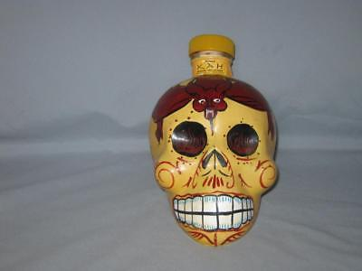 Kah Tequila Yellow & Brown Day Of The Dead Glass Skull Decanter Bottle