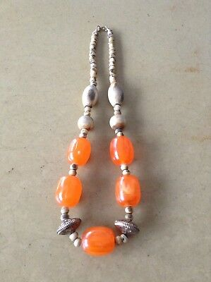 ART DECO Vintage Orange Chunky Bead And Natural Wood Bead Pendant Necklace Nice