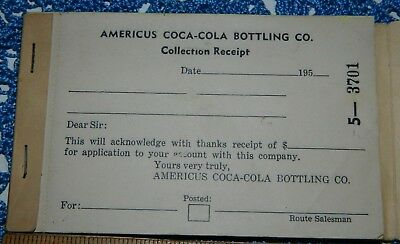 1950's FULL BOOK OF RECEIPTS FOR AMERICUS COCA-COLA BOTTLING CO. COLLECTION REC.