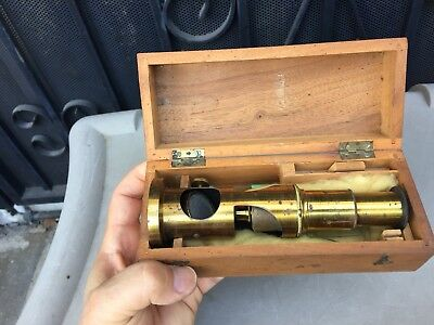 Small Antique Brass Microscope With Wooden Storage Box