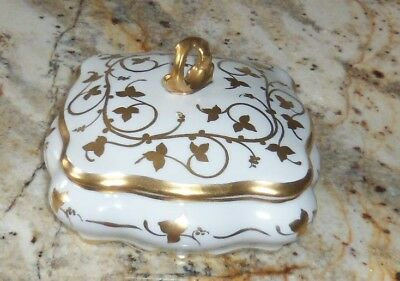 2-Pc Limoges France Hand Painted White & Gold Floral Vanity Trinket Box Dish Lid