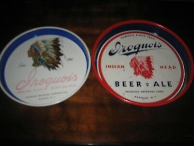 2 Vintage Beer Trays Buffalo NY Iroquois Beer & Ale Red White Blue VERY RARE!!!