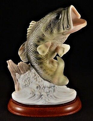 Vintage Homco Masterpiece Porcelain Collection ©1988 Large Mouth Bass, Wood Base